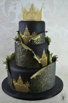 ~ Black and Gold Tiered Cake ~