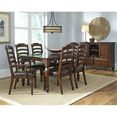 Charmant A America Phinney Ridge 8 Piece Extendable Dining Set In Brown Cuisine À Manger  Ensembles