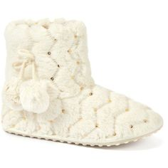 Rocket Dog White Starry Alpine Slipper Boots ($32) ❤ liked on Polyvore