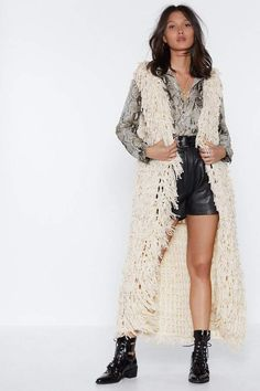 The Longing for You Waistcoat comes in a loop knit and features a longline silhouette, and open front. Black Crochet Dress, Fur Clothing, Long Knit Cardigan, Cardigans For Women, Autumn Winter Fashion, Lana, Nice Dresses, Knitwear, Ideias Fashion
