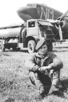 Pictured here is Harry Dzeoba, Canadian Parachute regiment, at a refueling stop near Brussels in the spring of 1945 Parachute Regiment, Singles Events, Paratrooper, World War Two, Brussels, Troops, Military Vehicles, Ww2, Tractors