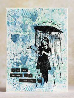 Banksy Rain Under Umbrella Girl 2 x 4 Umbrella Girl, Do You Believe, Artist Trading Cards, Banksy, Cool Cards, Love Art, True Love, Cardmaking, Street Art