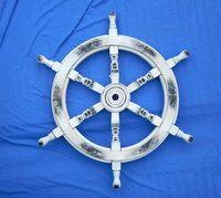 Nautical Whitewashed Wooden Ships Wheel 24 In