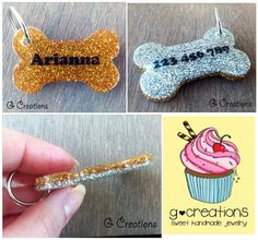 Glitter Bone Dog Tag  Gold and Silver  by GabriellesCreations