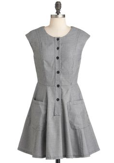 Taking Notes Dress - Short, Black, White, Houndstooth, Buttons, Pockets, Casual, A-line, Sleeveless, Fall, Vintage Inspired
