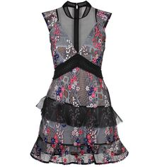 Self-Portrait Floral Vine 60's Overlay Mini Dress ($465) ❤ liked on Polyvore featuring dresses, short dresses, lace overlay dress, short floral dresses, lace cap sleeve dress and lace cocktail dress