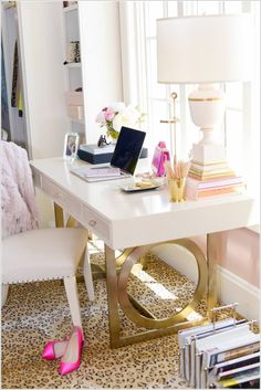 hollywood regency desk space. home office. home decor and interior decorating ideas.
