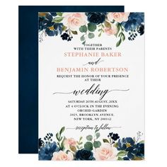 Navy Blue Blush Pink Rose Boho Wedding Invitation Customizable winter wedding and bridal shower invitations Spring Wedding, Boho Wedding, Floral Wedding, Wedding Colors, Wedding Bouquets, Rustic Wedding, Wedding Dresses, Invitation Floral, Pink Wedding Invitations