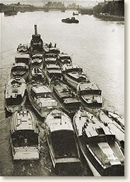 Small boats being towed to help the evacuation of Dunkirk, 1940.