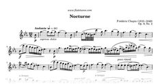 Sheet music for Nocturne (Nocturne in Eb major) by Frédéric Chopin, arranged for Flute and Piano. Free printable PDF score and MIDI track.