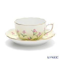 Herend Iris Jaune / Yellow Teacup with saucer 200 ml, IRIS-J 20724-0-00