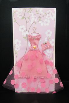 Cherry Personalized Dress Card / DL Size / Handmade Greeting Card. $19,00, via Etsy.