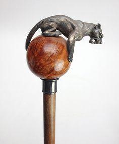 Italian Pewter Mountain Lion Walking Stick