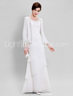 Lanting Bride® Sheath / Column Plus Size / Petite Mother of the Bride Dress - Wrap Included Floor-length Long Sleeve Chiffon withBeading 2017 - $104.49