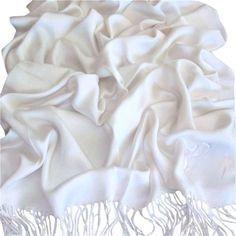 CJ Apparel White Solid Color Design Shawl Pashmina Scarf Wrap Stole Seconds NEW