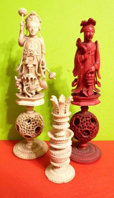 19th Century Chinese chess pieces