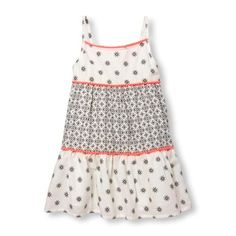 Baby Girls Toddler Sleeveless Geo Tile Floral Print Tiered Dress - White - The Children's Place