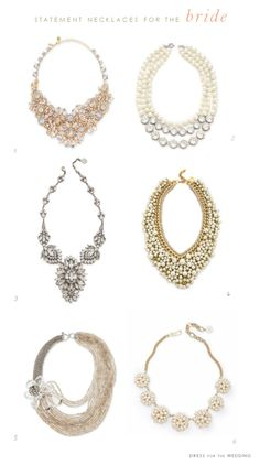 Statement Necklaces for Weddings via @dressforwedding