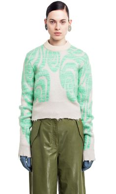 #knitwear Acne Studios Gaze ps mint green is a fitted, cropped sweater with psychedelic artwork in a jacquard knit.