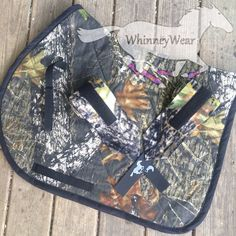 Custom made to order camo English saddle pad and polo wraps. Purchase and find pricing, along with other color options on www.whinneywear.com