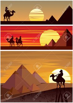 Set Of 3 Cartoon Landscapes With The Egyptian Pyramids. No Transparency.. Royalty Free Cliparts, Vectors, And Stock Illustration. Pic 13587802.