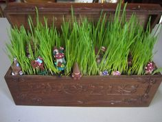 clay gnomes in wheat grass