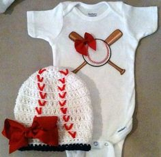 Baseball onesie set for baby girls with matching baseball beanie hat w/ bow.