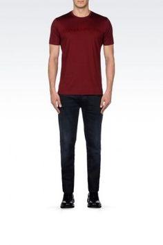 Camiseta Emporio Armani Men's Crew Neck Jersey T-Shirt With Logo Print Maroon #Camiseta #Emporio Armani