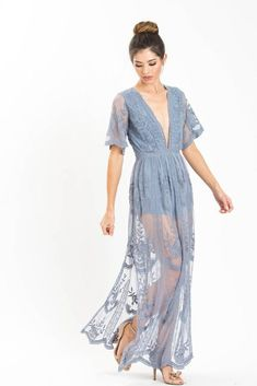 a8fa1c21624 Mila Dusty Blue Lace Maxi Jumpsuit