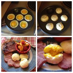 Perfect Fried eggs made in an ebelskiver filled pancake pan. Aebleskiver Recipe, Perfect Fried Egg, Mini Cake Pans, Danish Pancakes, German Pancakes, Pancake Pan, Look And Cook, Norwegian Food, Tasty Videos