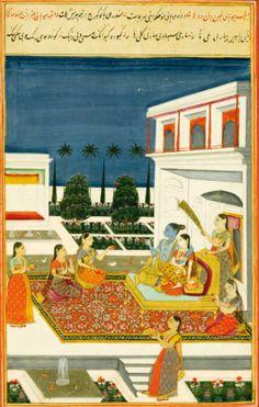 A leaf with two Ragamala illustrations: Bhupali Ragini and Desakar Ragini, India, Deccan, Hyderabad, circa 1760 | Lot | Sotheby's