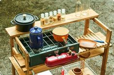 Wooden kitchen table that can be used freely - Today Pin Camping Diy, Camping Table, Camping Coffee, Kayak Camping, Outdoor Camping, Camping Hacks, Camping Kitchen, Camping Activities, Camping In North Carolina