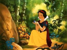 """""""Snow White and the Seven Dwarfs""""_ Snow White with her friendly cute birdie"""