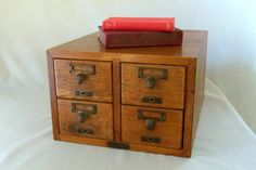 Vintage Wooden Card Catalog Library Cabinet by BeeHavenHome, $275.00