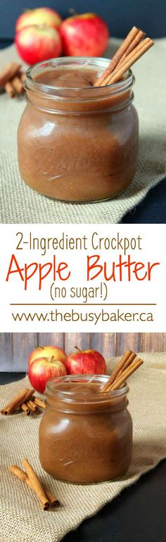 This Crock-Pot Apple Butter is SO easy to make, and it contains only 2 ingredients! It's a healthy choice with NO added sugar! Recipe at www.thebusybaker.ca