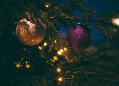 christmas tree lights ball decor ornaments holiday season night