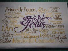 Free Cross Stitch Design His Name is Jesus Cross Stitch Designs, Cross Stitch Embroidery, Free Design, Diy Projects, Names, Tapestry, Peace, Joyful, My Love