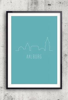 Byplakat - Aalborg i tyrkis - 50x70