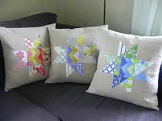 Quilted Star Pillow Covers by Jenny Bartoy