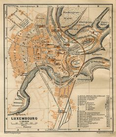 1905 Luxembourg City Map  Baedeker Travel Guide by CarambasVintage