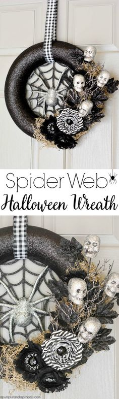 DIY Spider Web Halloween Wreath from MichaelsMakers A Pumpkin And A Princess