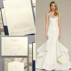 Perfect Pair || Jim Hjelm fit-and-flare wedding dress from Kleinfeld Bridal paired with 'Etched In Stone' wedding invitation from Kleinfeld Paper || http://www.kleinfeldpaper.com/retailer_locator.cfm