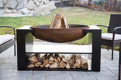 This one of a kind modern 'floating' fireplace will take your breath away. bowl diameter, with plenty of storage space underneath for wood and what not. Built solid, built to last. The perfect element to bring together your backyard landscape. Cool Fire Pits, Diy Fire Pit, Fire Pit Backyard, Backyard Patio, Backyard Landscaping, Outdoor Fire Pits, Garden Fire Pit, Floating Fireplace, Types Of Fire