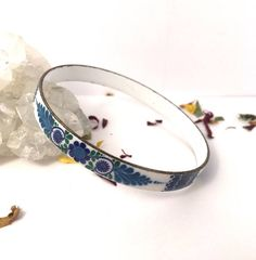 Your place to buy and sell all things handmade Bangle Bracelets, Bangles, Elegant Flowers, Off White Color, Enamel, Sterling Silver, Chic, Gifts, Blue