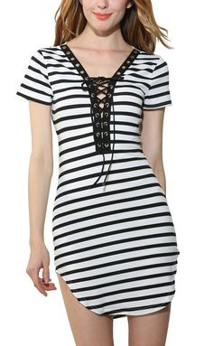Just In Totti Nautical St... Shop Now! http://www.shopelettra.com/products/totti-nautical-stripe-lace-up-mini-dress?utm_campaign=social_autopilot&utm_source=pin&utm_medium=pin
