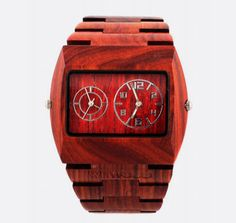 Jupiter Red Watch - WeWood watches are made of 100% real American hardwood. You'll also receive a fuzzy feeling on purchase knowing that a tree is planted in association with American Forests with every watch sold $129