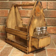 Rustic Wood Table Caddy Monogram initial Beer Tote - utensil Carrier - Napkin salt & pepper holder Picnic - Personalized - Bottle holder