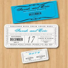 Vintage Wedding Ticket Style Invitations DIY Set by HermiasWishes, $30.00