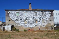 Dainty lace street art adds delicacy to the city streets   Creative Boom