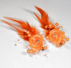2 Stück Haarclip ORANGE Ansteckblume Blume Perlen Federn Strassstein Blumen NEU
